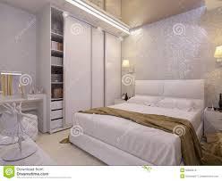 chambre à coucher blanche illustration 3d d une chambre à coucher blanche dans le style
