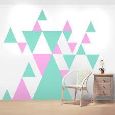 geometric pattern giant wall sticker set by oakdene designs pink and light grey geometric triangle wall stickers