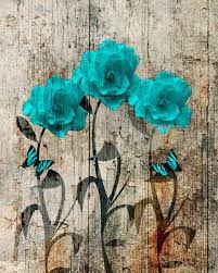 rustic teal brown flowers butterflies country home decor wall art