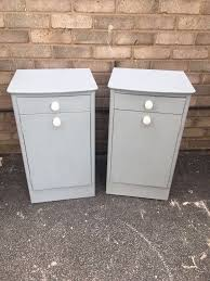 bedside cabinets pair painted grey wood french country style in