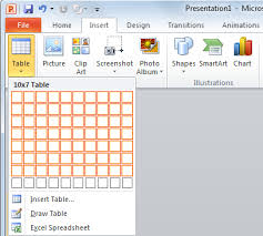 to create a table in powerpoint
