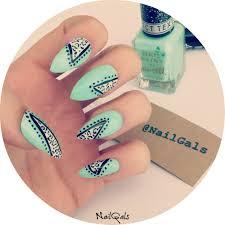 mint green leopard print stiletto nails set hand painted