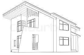 drawing home architectural drawing at home in the perspective stock photo