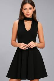 chic black dress skater dress lbd mock neck dress 54 00
