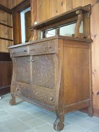 antique tiger oak sideboard buffet mirror shelf by 3vintagehearts