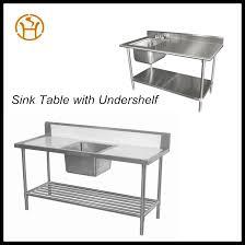 Restaurant Kitchen Double Bowls Sink Stainless Steel Drain Table - Restaurant kitchen sinks