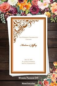 fall wedding programs wedding program templates diy printable order of service wedding