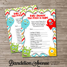 printable little monster baby shower price is right game