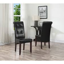 simpli home cosmopolitan midnight black faux leather parsons