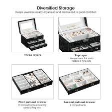 Amazon Com Langria Living Storage by Amazon Com Langria Small Jewelry Boxes For Women Lockable Makeup