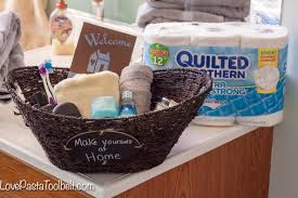 Bathroom Basket Ideas Guest Bathroom Welcome Basket Pasta And A Tool Belt