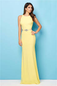 fitted side cut out long lemon yellow jersey beaded prom dress