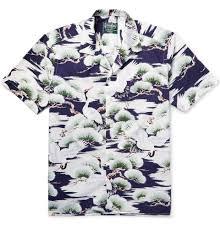 gitman bros vintage camp collar crane print cotton poplin shirt