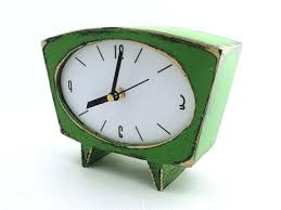 desk clock desk green clock table clock wood handmade clock wooden