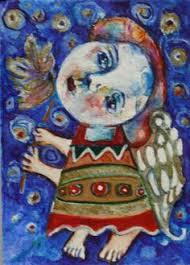 aceo original watercolor acrylic original art folk art