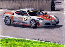 f430 challenge stradale a coloured pencil drawing of a f430 challenge stradale car