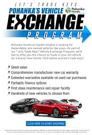 trading in a brand new car pohanka vehicle exchange program pohanka honda in capitol heights