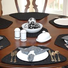 quilted placemats for round tables amazon com set of 2 black quilted wedge shaped placemats for round