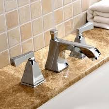 Widespread Bathroom Sink Faucet Deck Mounted Widespread Bathroom Sink Faucet With Waterfall Spout