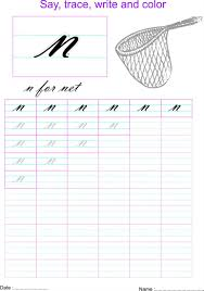 cursive small letter u0027n u0027 worksheet