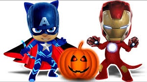 pj masks ironman captain america halloween coloring pages for kids