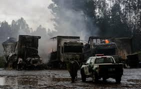 used semi trucks eighteen semi trucks set on fire in southern chile