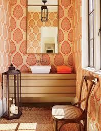 Katie Ridder Katie Ridder Leaf Wallpaper Eclectic Bathroom Architectural