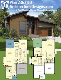 plan 23621jd 4 bed modern house plan with lower level modern