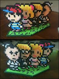 earthbound main characters standee perler beads by jnjfranklin