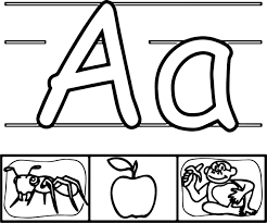 ant apple monkey abc coloring page wecoloringpage