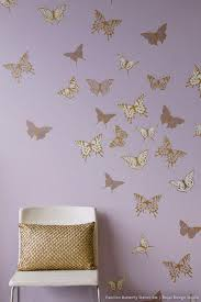 how to stencil tutorial butterfly wall for room