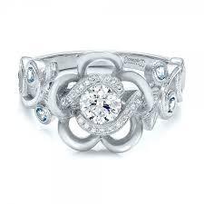 flower halo engagement ring custom organic flower halo and blue topaz engagement ring