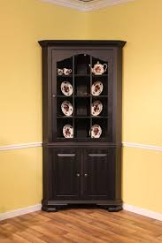 colonial corner cabinet maple beaded inset u0026 black on red crackle