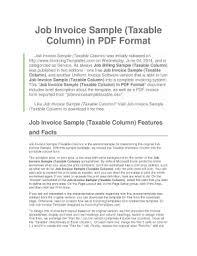 job invoice sample taxable column in pdf format fill online