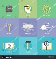 creative thinking process study activities learning stock vector