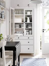 Dining Room Glass Cabinets by Hemnes Glass Door Cabinet With 3 Drawers White Stain 35 3 8x77 1