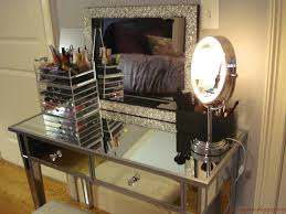 Bedroom Vanity Lights Interior Decor Charming Mirrored Vanity For Home Furniture