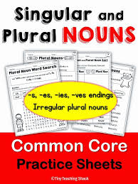 singular and plural noun common core practice for 1st and 2nd