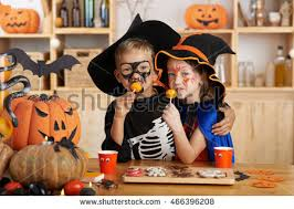 Brother Sister Halloween Costume Hugging Brother Sister Halloween Costumes Eating Stock Photo