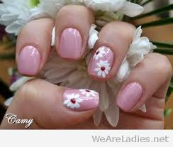 White Pink Nail Nail And White Flowers