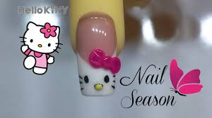 acrylic nails hello kitty 3d french nail art step by step youtube