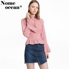 elastic waist blouse gingham smocked bell sleeve top plaid blouses elastic waist