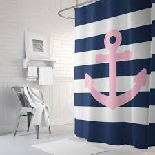 Blue And White Striped Shower Curtain Navy Shower Curtains Nujits Com
