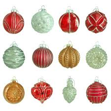80 mm winter tidings assortment ornament 12 count red red white
