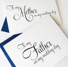 wedding card for groom to my parents on my wedding day wedding card to my