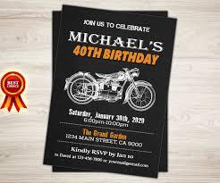 50th Birthday Invitation Cards Harley Davidson Birthday Party Invitation 40th 50th 60th