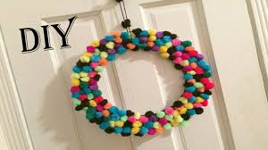 diy wall hanging pom pom wreath easy home decor youtube