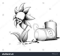 drawing flowerskull that symbolizes effects soil stock vector