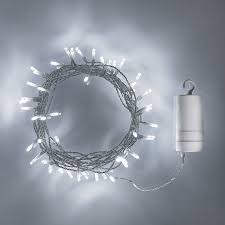 50 white led outdoor battery lights on clear cable