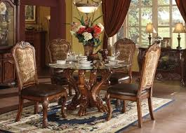 5 pc round pedestal dining table acme 60010 5 pc dresden cherry oak finish wood 54 round glass top